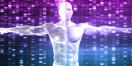 nucleic: Genetics with Science Data as a Futuristic Concept Stock Photo