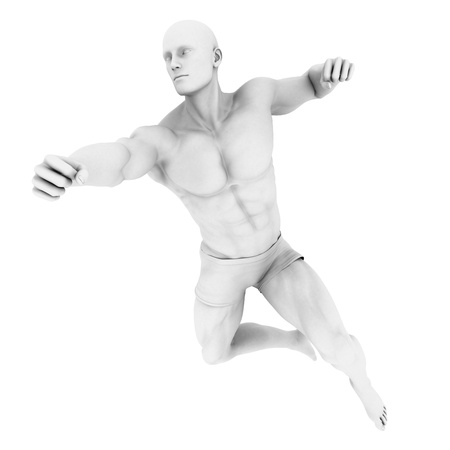 fighting: Superhero Pose With a Man in 3d Render Illustration