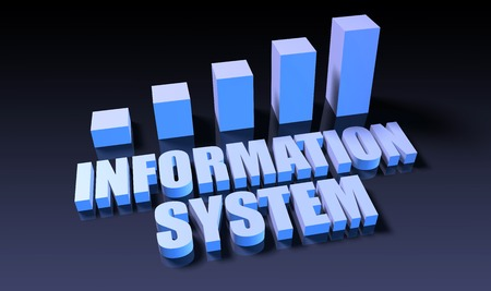 information system: Information system graph chart in 3d on blue and black