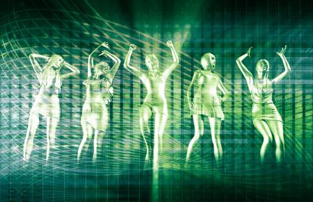 mujeres felices: Fila de Baile personas Clubbing en Disco Foto de archivo