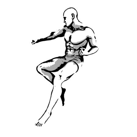 ink sketch: Comic Book Hero Pose in Sketch Ink Illustration