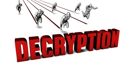 decryption: Better Decryption with a Business Team Racing Concept Stock Photo