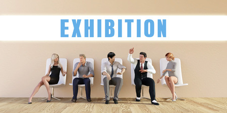 exhibitions: Business Exhibition Being Discussed in a Group Meeting Stock Photo