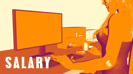 course development: Salary Concept Course with Woman Looking at Computer