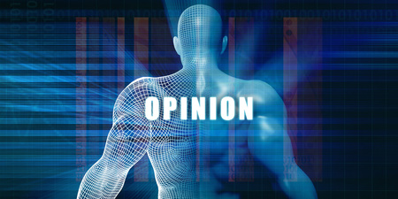 opinion: Opinion as a Futuristic Concept Abstract Background Stock Photo