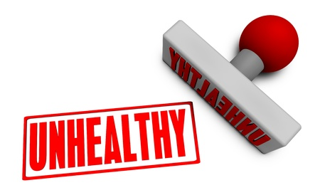 unhealthy: Unhealthy Stamp or Chop on Paper Concept in 3d Stock Photo