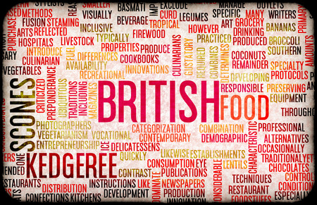 british food: British Food and Cuisine Menu Background with Local Dishes Stock Photo
