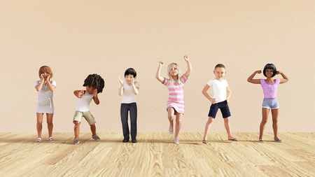 summer fun: Happy Children in a Day Care or Daycare Center