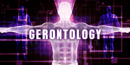 care providers: Gerontology as a Digital Technology Medical Concept Art Stock Photo