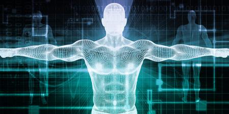 cuerpo hombre: Tecnología implante o implantes Trasplantes y Concepto Foto de archivo