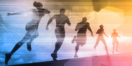exercise silhouette: Sports Illustration Abstract Background with Silhouette Art