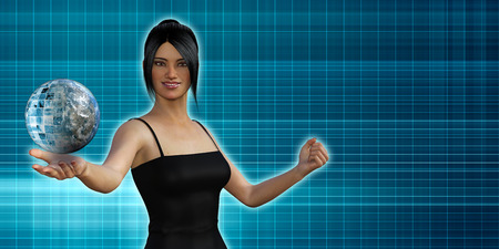 communications: Global Communications with Woman Holding Globe in Her Palm Stock Photo