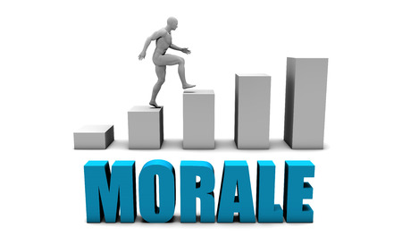morale: Morale 3D Concept  in Blue with Bar Chart Graph Stock Photo