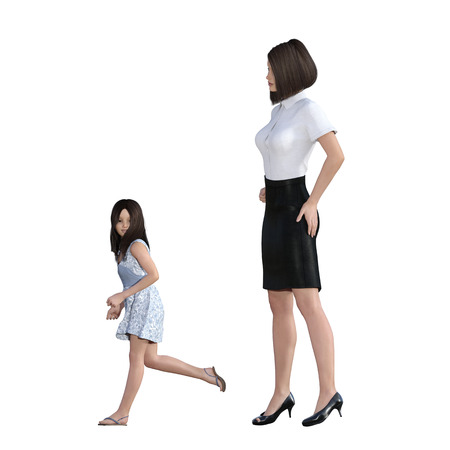 mum and child: Mother Daughter Interaction of Girl in Trouble Running as an Illustration Concept Stock Photo