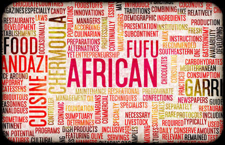 main dishes: African Food and Cuisine Menu Background with Local Dishes