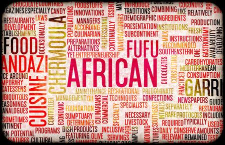 piatto: African Food and Cuisine Menu Sfondo con piatti tipici