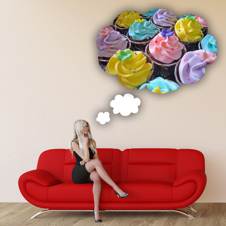 unhealthy thoughts: Woman Craving Cupcakes Concept with House Interior Art Stock Photo