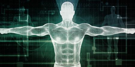 Tecnología Salud Con un concepto de la exploración del cuerpo humano Foto de archivo