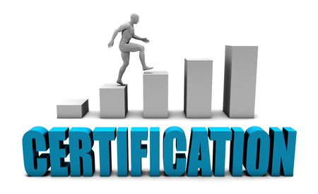 Certification 3D Concept  in Blue with Bar Chart Graph Stockfoto