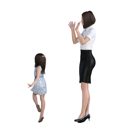 set going: Mother Daughter Interaction of Girl Posing as Model as an Illustration Concept Stock Photo