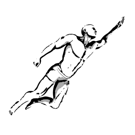 pose: Comic Book Hero Pose in Sketch Ink Illustration