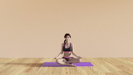 the instructor: Yoga Class Lotus Pose Illustration with Female Instructor Stock Photo