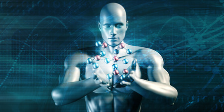 experimenting: Scientist Performing Research and Experimenting with Science Molecule Stock Photo