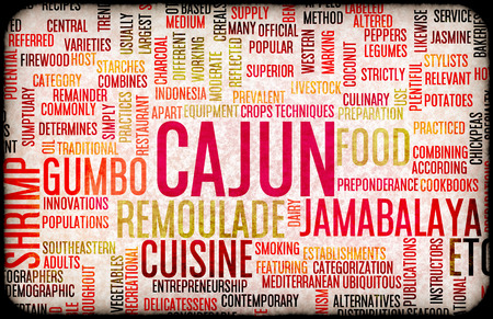 creole: Cajun Food and Cuisine Menu Background with Local Dishes