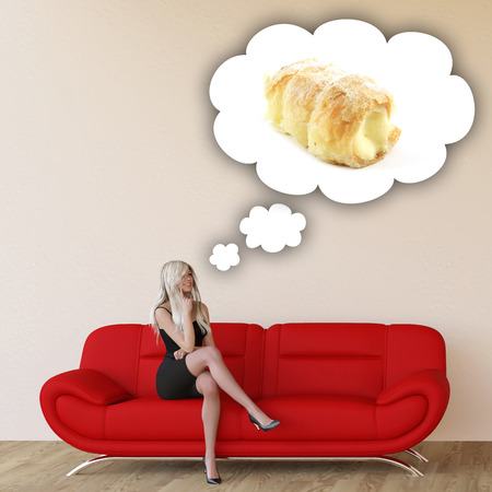 unhealthy thoughts: Woman Craving Pastries and Thinking About Eating Food