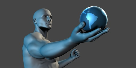 lifting globe: Globe with Open Palm Hand of a Man