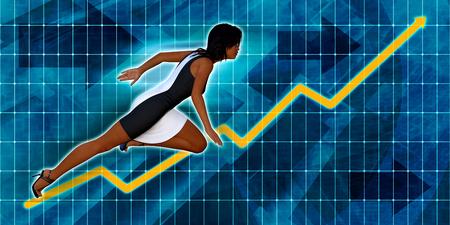 executive women: Black Businesswoman Running with Chart Graph Background Art