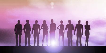 businesswomen: Confident Businessmen and Businesswomen Standing in Unity