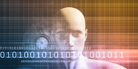 visualization: Mind Brain Code as Data Visualization Concept Art Stock Photo