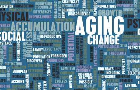 ageing: Aging or Ageing Concept of Growing Older Gracefully Stock Photo