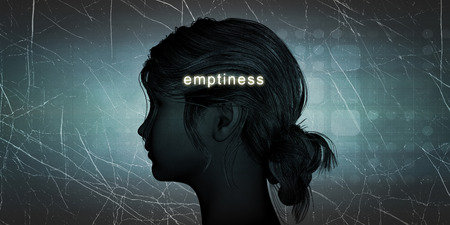 emptiness: Woman Facing Emptiness as a Personal Challenge Concept