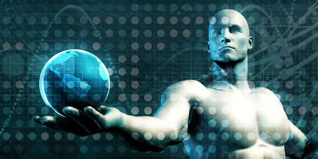 applications: Visual Concept of Virtual Business with Man Holding Globe Stock Photo