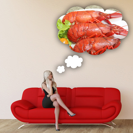 cravings: Woman Craving Seafood and Thinking About Eating Food