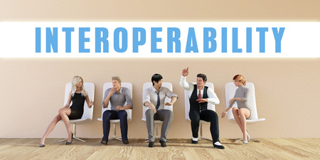 Business Interoperability Being Discussed in a Group Meeting Stock Photo