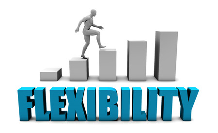 flexibility: Flexibility 3D Concept  in Blue with Bar Chart Graph Stock Photo
