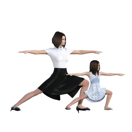 mujer hijos: Hija de la madre Interacción de Yoga Ejercicio como una ilustración del concepto Foto de archivo