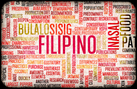 filipino: Filipino Food and Cuisine Menu Background with Local Dishes Stock Photo