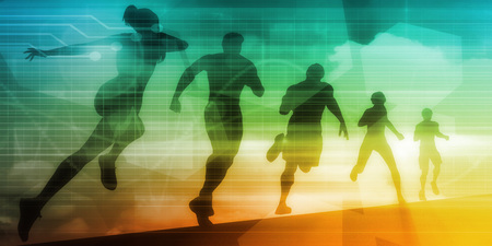 uphill: People Running Silhouette Background Illustration as Concept