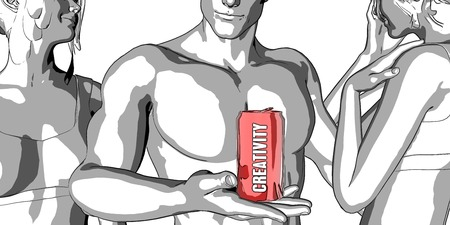 sexy muscular man: Creativity Sketch Illustration as a Fast Product
