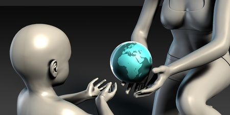 recieving: Mother Earth Providing To Her Children as Concept Stock Photo