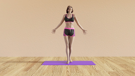 fitness instructor: Yoga Class Breathing Pose Illustration with Female Instructor Stock Photo