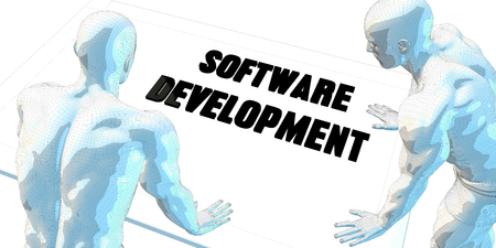 business software: Software Development Discussion and Business Meeting Concept Art