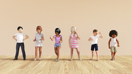 diversity: Kids Jumping Playing Inside the House Illustration
