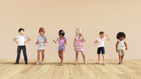 diversidad: Salto de los cabritos que juega dentro de la ilustración de la casa