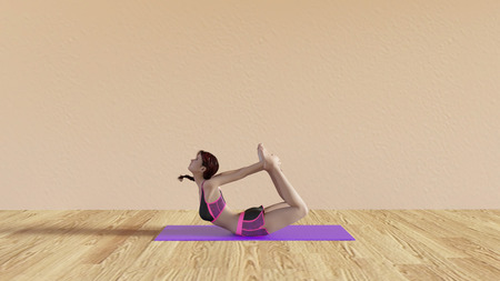 pose: Yoga Class Bow Pose Illustration with Female Instructor