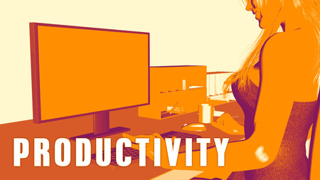 looking at computer: Productivity Concept Course with Woman Looking at Computer